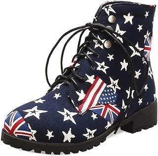 RAZAMAZA Women Fashion Flats Ankle High Boots Lace Up