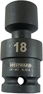 Westward 4LXD8 Impact Socket, 1/2Dr, 6Pt, Std, Univ, 1 1/8In