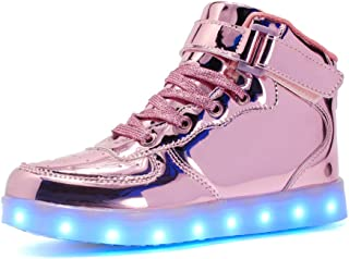 Voovix Kids LED Light up Shoes USB Charging Flashing High-top Sneakers for Boys and Girls Child Unisex Pink Size: 4.5 Big Kid