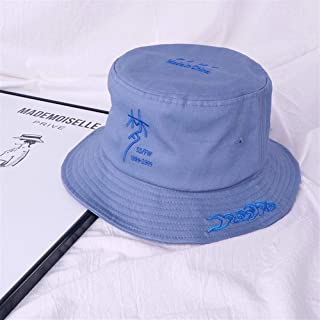 OULUOBA [Dream] 2019 new double-sided embroidery Chinese style flat-topped hat men and women summer Korean leisure wild Japanese (Color : Light blue, Size : One size)