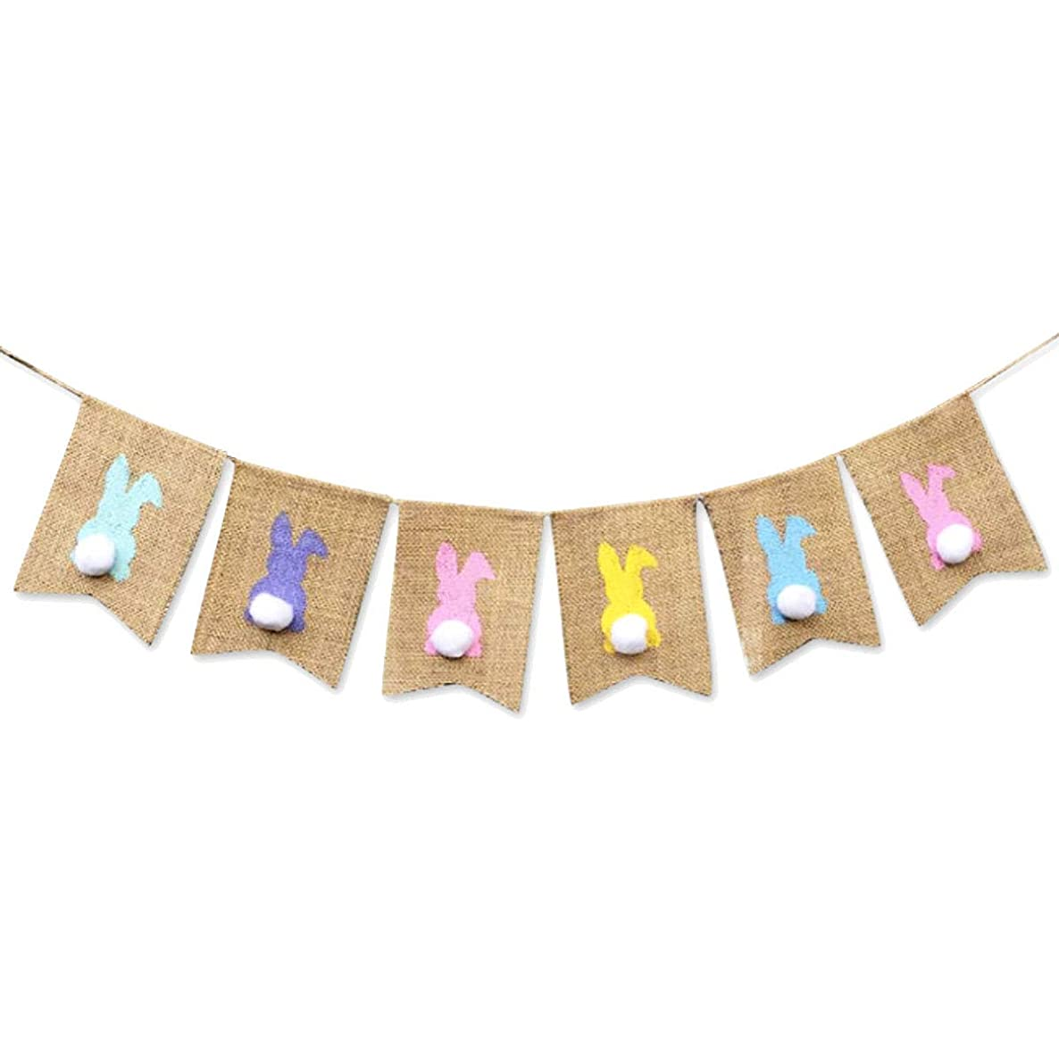 IDOXE Easter Burlap Banners Colorful Bunny Pattern Bunting Garland Easter Decorations Home Party Decor Favors (Bunny)