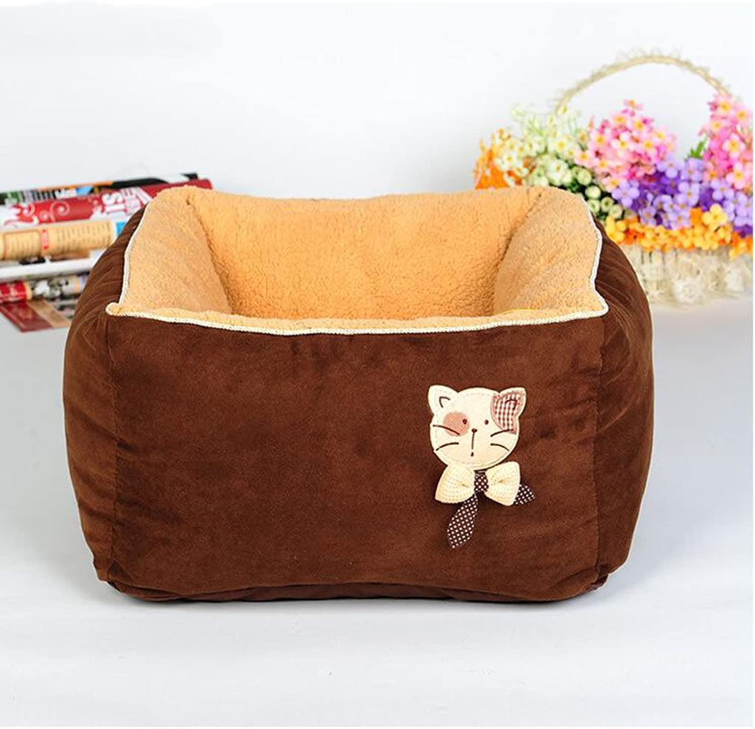 MM Beds Washable Cat Nest Deep Sleep Cat House Cat Bed Kennels Pet House (color   BROWN)