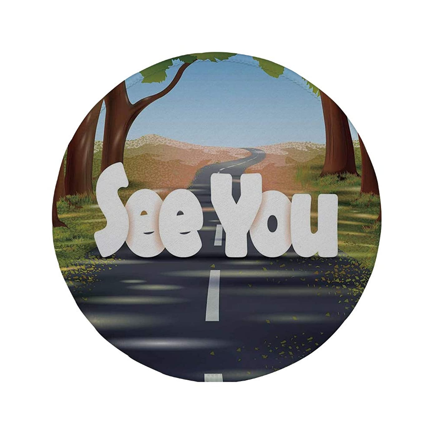 Non-Slip Rubber Round Mouse Pad,Going Away Party Decorations,Cartoon Highway Empty Open Road with Trees See You,Green Brown Slate Blue,11.8