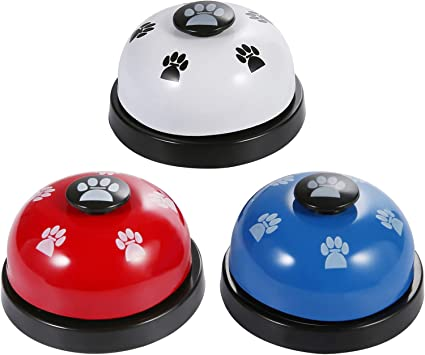 SLSON 3 Pack Pet Bells for Training Dog Bell for Potty Training Puppy Cat Bell Button Dog Interactive Toy Pet Communication Device, White, Red and Blue