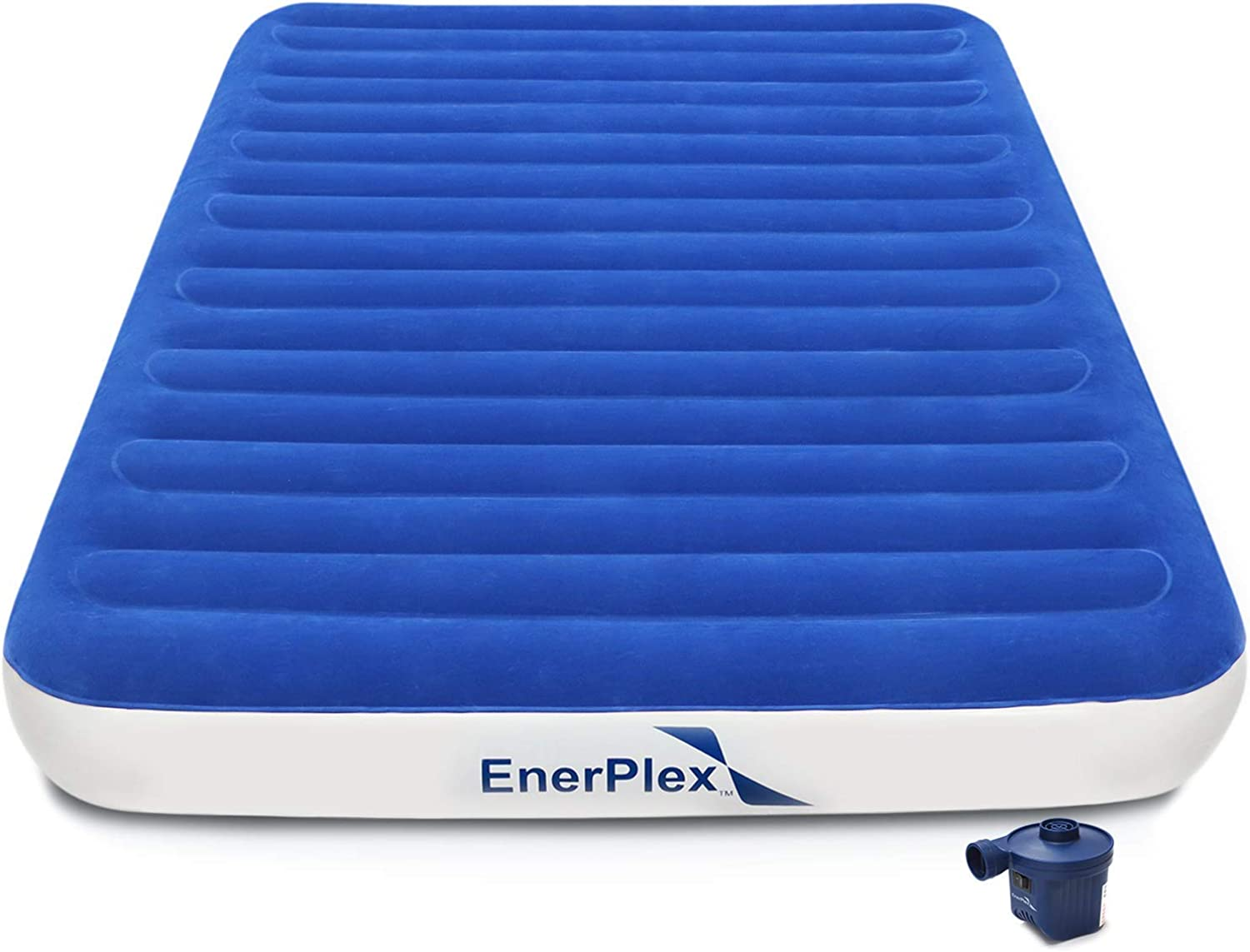 EnerPlex 2019 Never Leak Luxury Queen Size Air Mattress Camping Queen Airbed with High Speed Wireless Pump Single High Inflatable Blow Up Bed for Home Camping Travel 2-Year Warranty