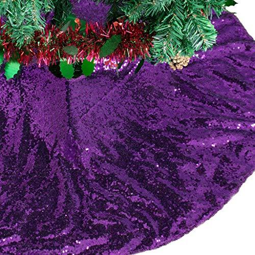 AMZLOKAE Sequin Tree Skirt 36 Inch Purple Christmas Tree Skirt Glitter Halloween Tree Skirt Xmas Tree Skirt Sparkle Christmas Tree Skirt Holiday Decorations Tree Skirt Kit (36 Inch, Purple)