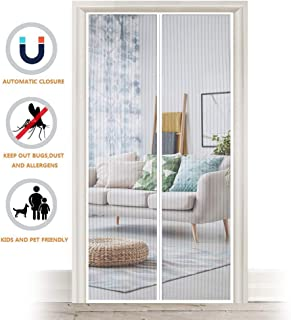 Magnetic Fly Screen Door, Heavy Duty Bug Mesh Curtain with Powerful Magnets and Full Frame Magic Tape, Insect Protection Door No Gap, Keep Bugs Out Lets Fresh Air in, 35