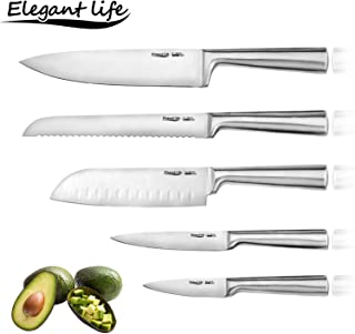 Knife Set, Elegant Life Professional 5-Piece Full tang Stainless Steel Kitchen Knifes Set, Non-Slip Frosted Handle, Serrated and Standard Sharp Chef Knife, Bread Knife for Mincing, Chopping, Slicing