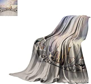 Throw Blanket Wanderlust Decor Collection,Modern City Skyline Traffic and Cityscape in Shanghai China Cloudscape Commercial Image,White Blanket for Sofa Couch Bed Bed or Couch 50