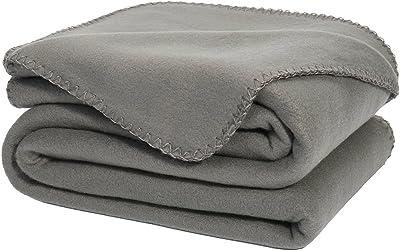 DOZZZ Oversize Flannel Polar Fleece Throw Blanket 70 x 50 Fuzzy Plush Microfiber for Couch Cover Sofa Chair Bed Grey
