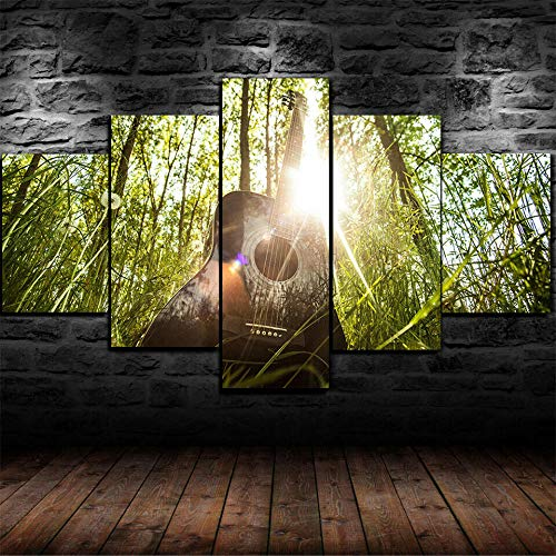 TOPRUN Canvas Picture -5 Piece Abstract Acoustic Guitar Spring Nature 150x80cm -5 Part Panels -Ready to Hang - wall art print -Completely framed - Image printed -art on canvas - Art print Images