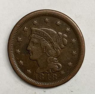 1848 Coronet Head Large Cent 1c XF