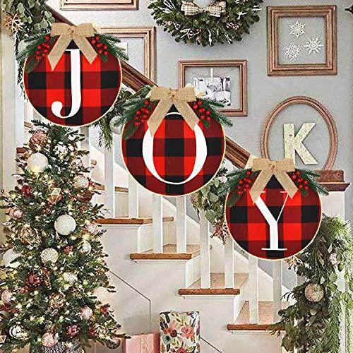 Decorazioni natalizie Segno di gioia Buffalo Check Plaid Ghirlanda Rustica da imballaggio Decorazioni natalizie per porta d'ingresso Casa Finestra Parete Fattoria Decorazione interna esterni