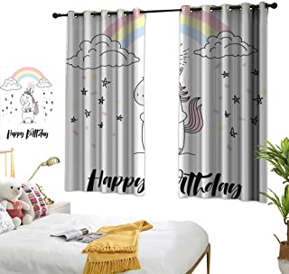 """RuppertTextile Unicorn Party Customized Curtains Hand Lettering Cheerful Birthday Celebration with Sketch Stars and Confetti 72"""" Wx45 L, Suitable for Bedroom Living Room Study, etc."""