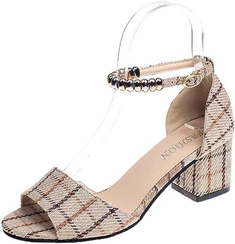XAFXAH Sandales Femmes Plates,Chaussures Femmes Sandales Sandales Beige avec Boucle Boucle Plaid épaisse avec La Mode Talon Sandales Sauvages  70% de réduction