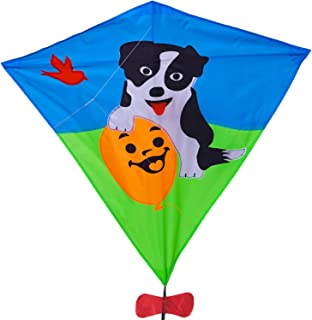Zhuoyue Diamond Kite for Girls and Boys Cute Dog Ripstop Nylon Fabric Single Line Kite Easy to Fly with Long Tail and Flying Line