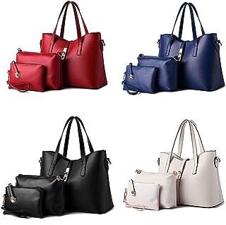 Fanspack 3PCS Shoudler Bag Set Retro Zipper Casual Tote Handle Bag with Satchel Bag Women