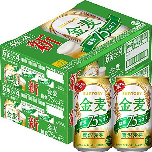 [Amazon限定ブランド] 【新ジャンル/第3のビール】 2ケースまとめ買い サントリー 金麦 糖質75% オフ [ 350ml×48本 ]