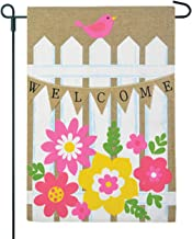 JEC Picket Fence Garden Flag Flower - Spring Welcome Design Burlap Garden Flag Summer Garden Flag, Double Sided 12.5 x 18