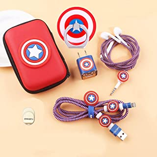 ZOEAST(TM) DIY حامي كابل بيانات لكابل USB لسلك سماعة الأذن متوافق مع iPhone 5S SE 6 6S 7 8 Plus X XS XR Max iPad iPod iWat...