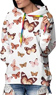 Butterfly Rose Gold, Large Women's Hoodie Sweatshirt Pullover Casual Hooded Tops Hoodedshirt