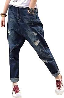 Youlee Mujeres Pantalones Harem Pantalones Vaqueros Rotos con Bolsillos