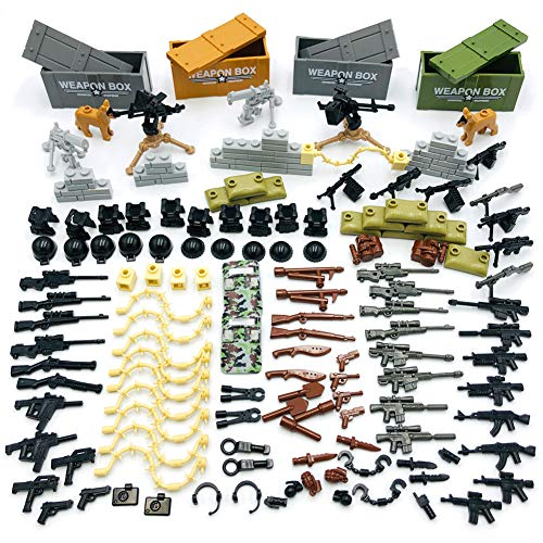 Taken All Custom Military Army Weapons and Accessories Set Compatible Major Brands ?Accessories - Hats, Weapons, Tools, Modern Assault Pack Military Building Blocks Toy (Original Version)