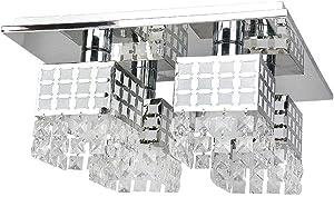 Glighone Lámpara Colgante Cristal 4*E27*40W Lámpara de Techo Luz Moderna Lámpara de Araña Iluminación Contemporáneo Elegante, No Incluye Bombillas