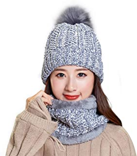 Women's Winter Hat and Scarf Set Knit Beanie Hats Warm Snow Skull Caps