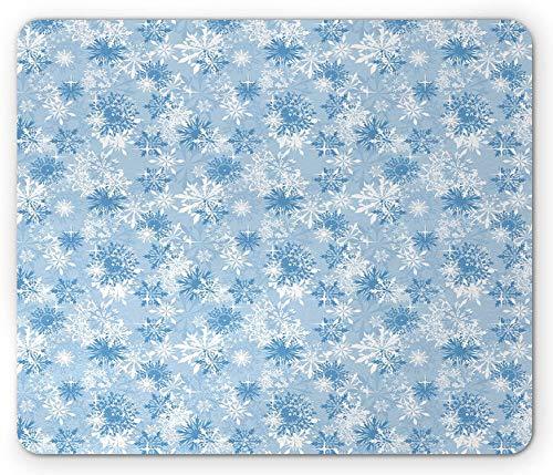 Alfombrilla de raton de copo de nieve, Ilustracion de vacaciones de invierno Copos de nieve de Navidad sobre fondo abstracto, Alfombrilla de goma de rectangulo antideslizante, Tamano estandar, Azul bl