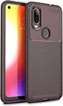 YSH Cell Phone Accessories Carbon Fiber Texture Shockproof TPU Case for Motorola P40 / Moto One Vision(Black) Protective Case for Motorola (Color : Brown)