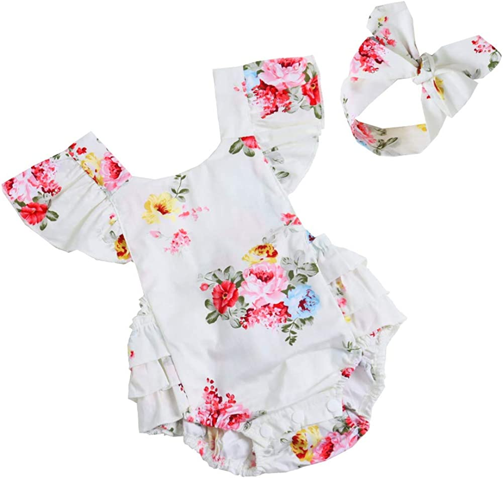 Newborn Baby Girls Kid Cotton Vintage Floral Romper Clothes Set Ruffle Sleeve Jumpsuit+Headband Outfit