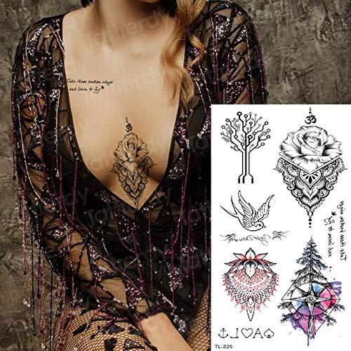 Handaxian 3 Piezas Tatuaje Tatuaje de ángel Femenino Diente de león Dibujo Tatuaje Pegatina Cuerpo Arte Tatuaje