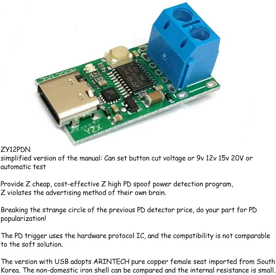 Acxico 1Pcs Type-C USB-C PD2.0 3.0 to DC USB Decoy Fast Charge Trigger Poll Detector Charging Module (ZY12PDN with Screw Terminal)
