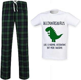 Mens Accountant Dinosaur Tartan Trouser Pyjama Set Family Matching Twinning Family