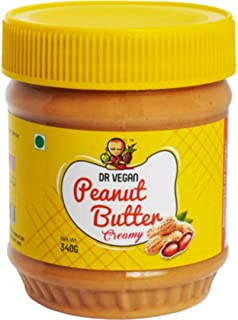 Dr Vegan Peanut Butter, 340gms - Made from Real Roasted Peanuts, Keto, Rich in Protein (Creamy)