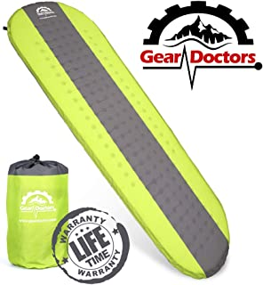 Gear Doctors- Self Inflating Camping Sleeping Pad - 4.3 R-Value Lightweight Foam Filling 1.5-inch Thick Mat Perfect Size Mattress for Camping Backpacking Travel with Insulation for Cold Winters