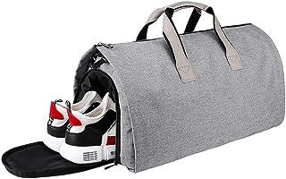 Bolsa Portatrajes, Bolsa de Viaje con Compartimento para Zapatos, Bolsa Deporte de Plegable para la Prevención de Arrugas, 55L, Gris.