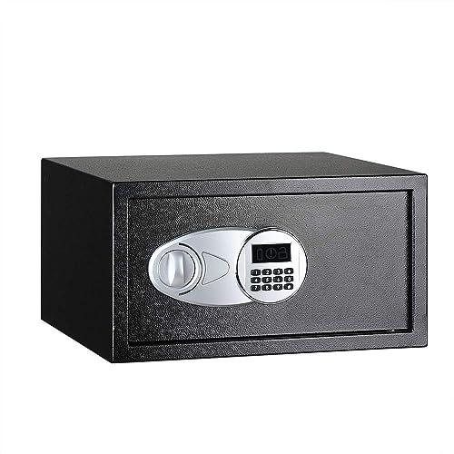 Amazon Basics Steel, Security Safe Lock Box, Black - 1 Cubic Feet
