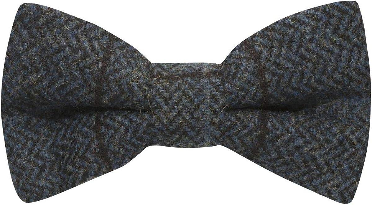 online shop Luxury Aegean Blue Herringbone Bow Tweed Check Fashion Tie