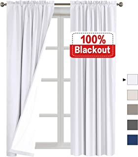 """Flamingo P 100% Blackout Curtains Waterproof Fabric Curtains with White Thermal Insulated Liner, Rod Pocket Curtains for Living Room/Bedroom 52""""Wx96""""L FPMMTCWHITE5296C1"""