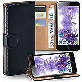 MoEx Premium Book-Hülle Handytasche passend für ZTE Blade L3 | Handyhülle mit Kartenfach & Ständer - 360 Grad Schutz Handy Tasche, Schwarz