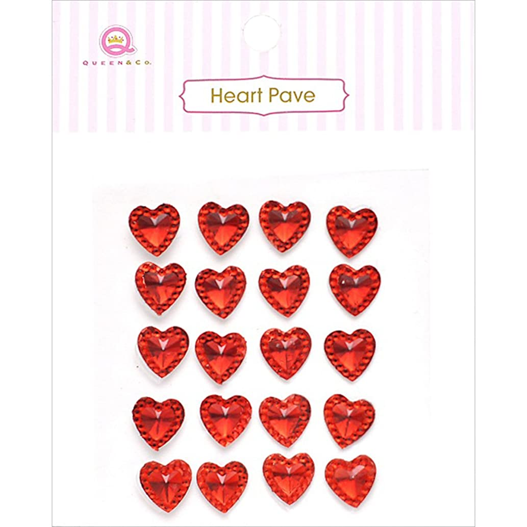 Queen & Co Heart Pave Self-Adhesive Embellishments, Red
