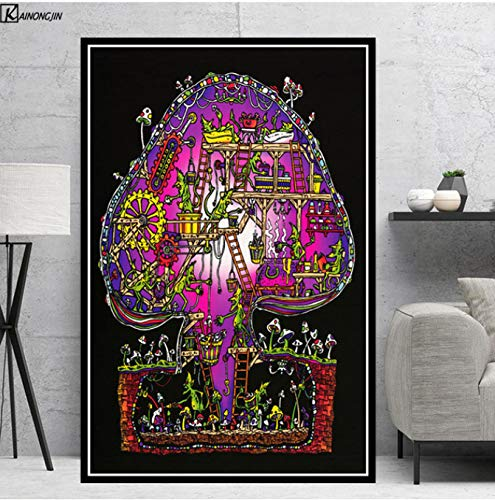 LGXINGLIyidian Poster Und Drucke Magic Mushroom Blacklight Psychedelic Poster Trippy Leinwand Malerei Wandkunst Bild Wohnzimmer Home Decor Y964 40x60Cm