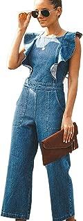 MYHALF Women's Jumpsuit Jeans Backless Tie Sleeveless Slim fit Long Romper Ruffle Playsuit