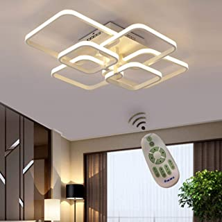 LED Fixture Flush Mount Ceiling Lights Square Modern Metal Lamp White Acrylic Panel Remote Control Dimmable Geometric Modeling Design for Home living room Bathroom Kitchen Bedroom Living Room Corridor