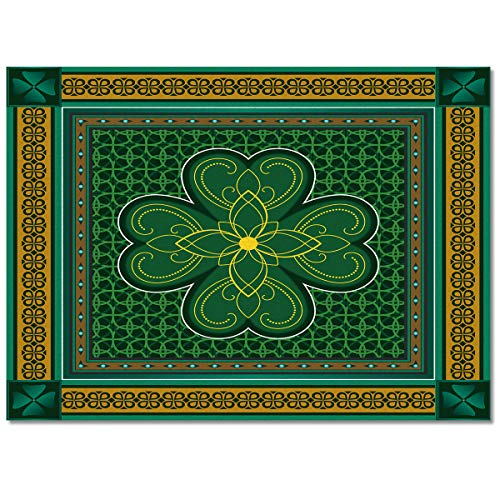 Large Area Rugs 5' x 8' Throw Carpet Floor Cover Nursery Rugs for Kids, St. Patrick's Day Theme Retro Celtic Knots Lucky Clover Irish Decor Modern Kitchen Mat Runner Rugs for Living Room/Bedroom