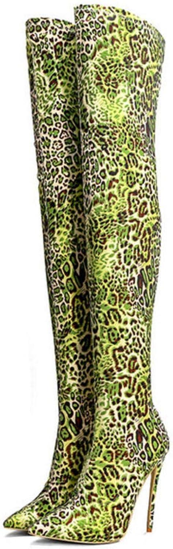 Hysxm Frauen Sexy Kniehohe Stiefel Winter High Heels Grüne Overknee Stiefel Leopardenmuster Mode Overknee Stiefel