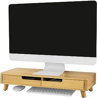 SoBuy BBF06-N designerska podstawka pod monitor, stojak na notebooka, nakładka na biurko, organizer z 2 szufladami, bambu...