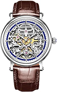 Skeleton Casual Watches for Men Ultra Thin Steel Automatic Watches RGA1917